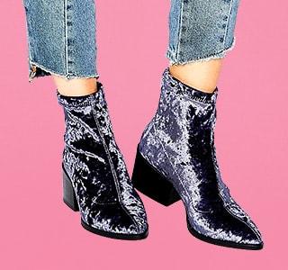 ベロア素材ブーツ